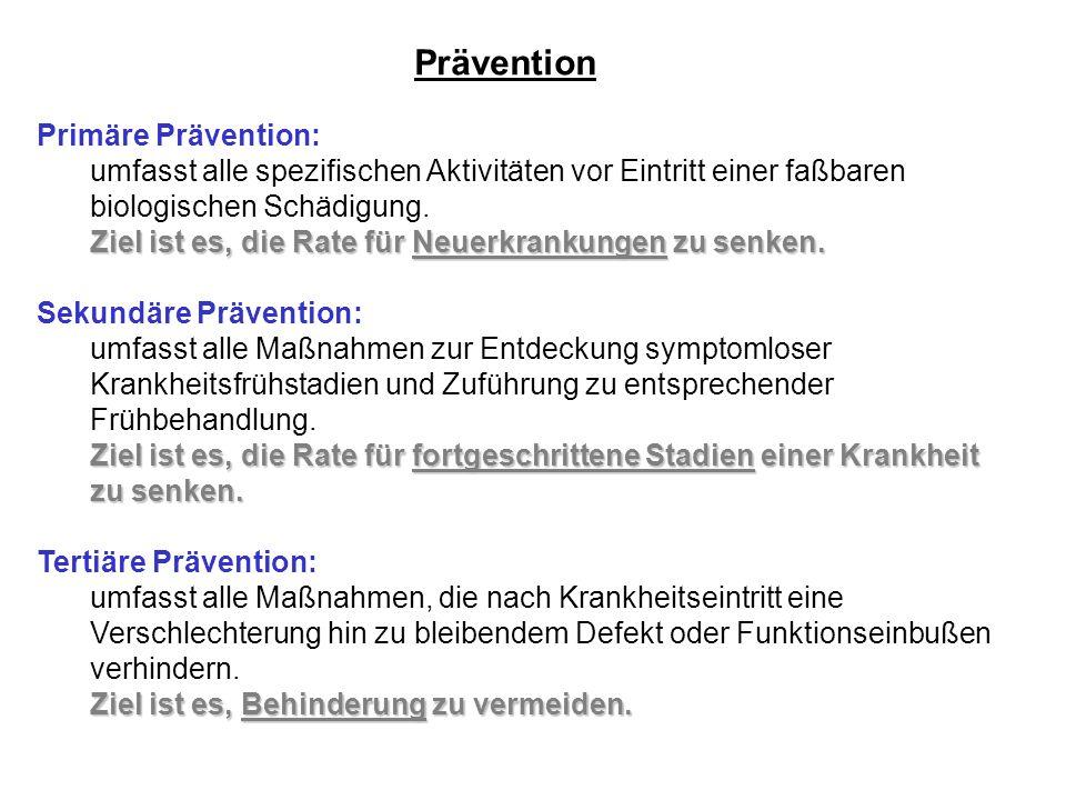 Prävention Primäre Prävention: umfasst alle spezifischen Aktivitäten vor Eintritt einer faßbaren biologischen Schädigung. Ziel ist es, die Rate für Ne