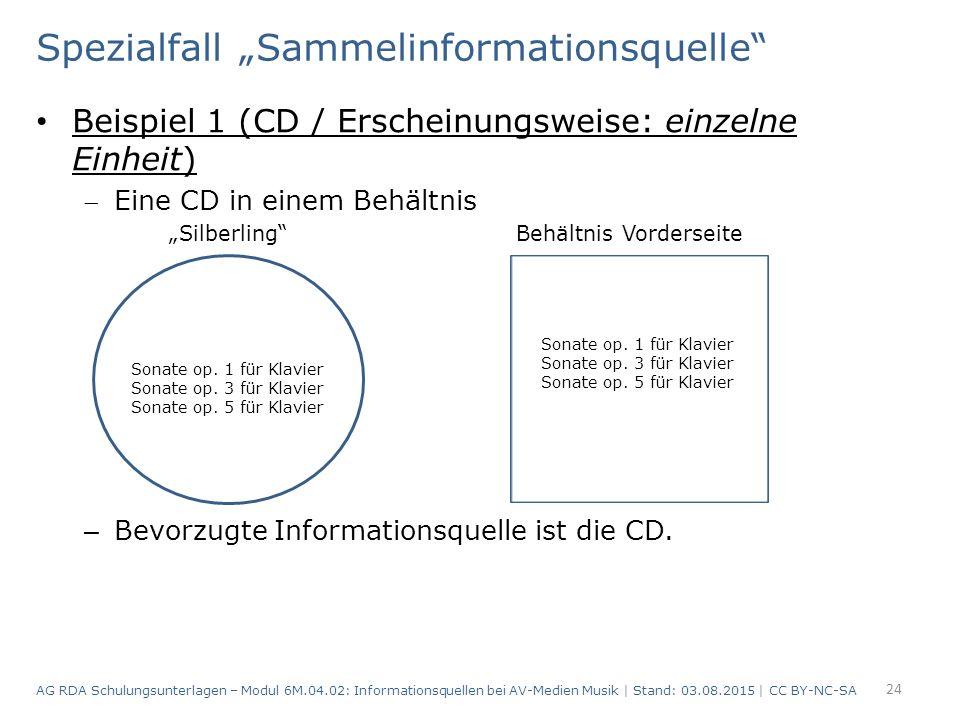 """Spezialfall """"Sammelinformationsquelle Beispiel 1 (CD / Erscheinungsweise: einzelne Einheit) Eine CD in einem Behältnis """"Silberling Behältnis Vorderseite – Bevorzugte Informationsquelle ist die CD."""