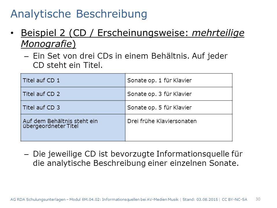 Analytische Beschreibung Beispiel 2 (CD / Erscheinungsweise: mehrteilige Monografie) – Ein Set von drei CDs in einem Behältnis.