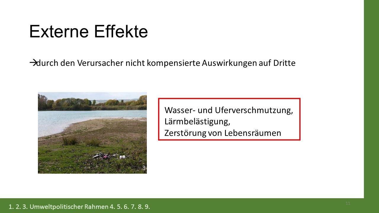Externe Effekte  durch den Verursacher nicht kompensierte Auswirkungen auf Dritte 11 Wasser- und Uferverschmutzung, Lärmbelästigung, Zerstörung von L