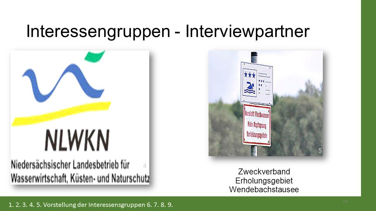 Interessengruppen - Interviewpartner Zweckverband Erholungsgebiet Wendebachstausee 14 1. 2. 3. 4. 5. Vorstellung der Interessensgruppen 6. 7. 8. 9. 5