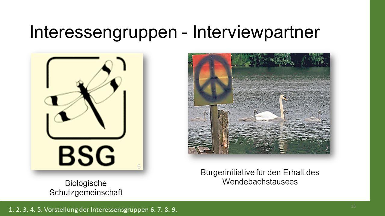 Interessengruppen - Interviewpartner Bürgerinitiative für den Erhalt des Wendebachstausees Biologische Schutzgemeinschaft 15 1. 2. 3. 4. 5. Vorstellun