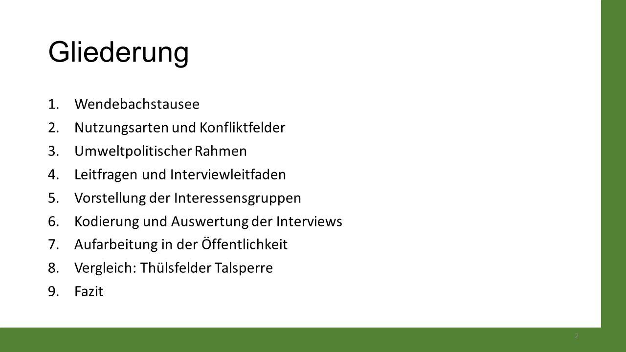 Interviewleitfaden EinstiegsfrageWie können Sie die die gegenwärtige Situation am Wendebachstausee beschreiben.