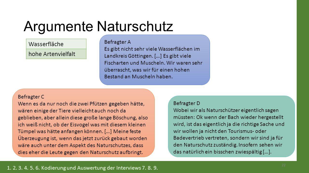 Argumente Naturschutz 22 Befragter A Es gibt nicht sehr viele Wasserflächen im Landkreis Göttingen. […] Es gibt viele Fischarten und Muscheln. Wir war