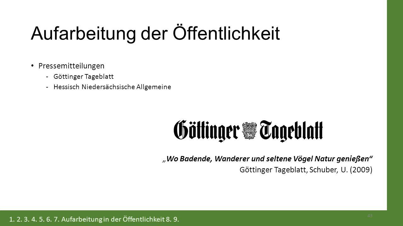 """Aufarbeitung der Öffentlichkeit Pressemitteilungen -Göttinger Tageblatt -Hessisch Niedersächsische Allgemeine """"Wo Badende, Wanderer und seltene Vögel"""