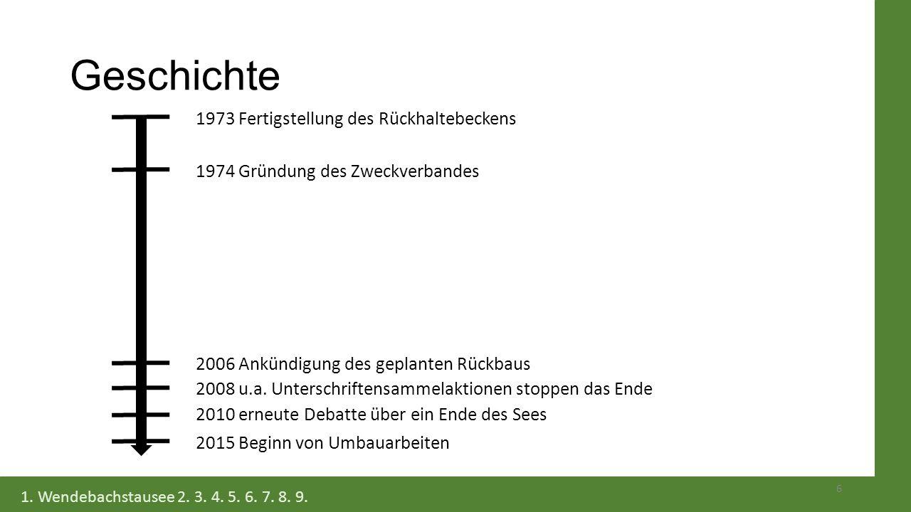Geschichte 1973 Fertigstellung des Rückhaltebeckens 1974 Gründung des Zweckverbandes 2006 Ankündigung des geplanten Rückbaus 2008 u.a. Unterschriftens