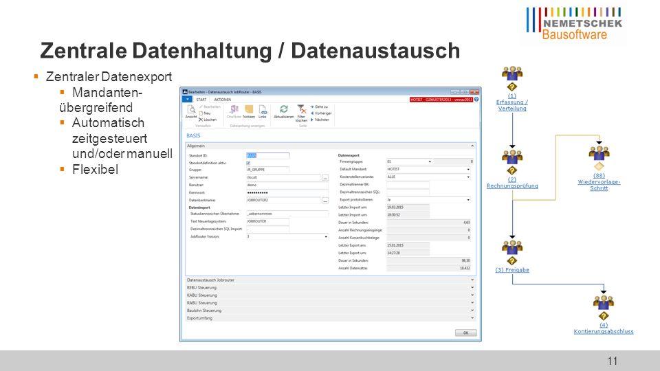  Zentraler Datenexport  Mandanten- übergreifend  Automatisch zeitgesteuert und/oder manuell  Flexibel Zentrale Datenhaltung / Datenaustausch 11