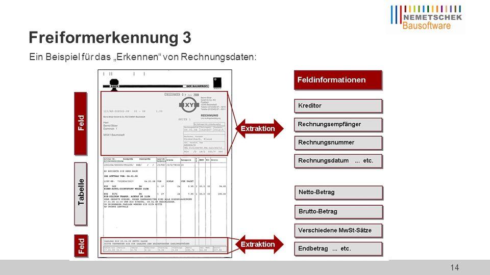 """Ein Beispiel für das """"Erkennen"""" von Rechnungsdaten: Freiformerkennung 3 14"""