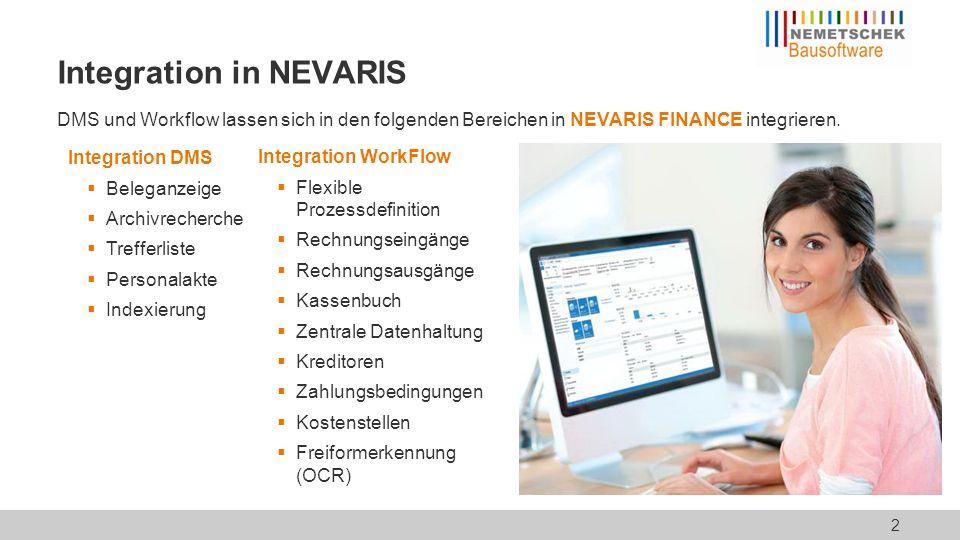 Integration in NEVARIS DMS und Workflow lassen sich in den folgenden Bereichen in NEVARIS FINANCE integrieren. Integration WorkFlow  Flexible Prozess