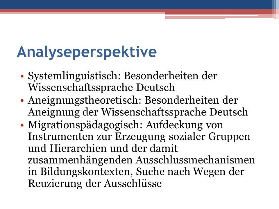 Analyseperspektive Systemlinguistisch: Besonderheiten der Wissenschaftssprache Deutsch Aneignungstheoretisch: Besonderheiten der Aneignung der Wissens