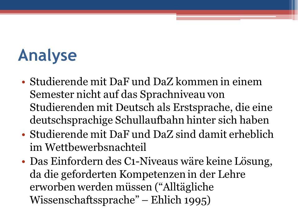 Analyse Studierende mit DaF und DaZ kommen in einem Semester nicht auf das Sprachniveau von Studierenden mit Deutsch als Erstsprache, die eine deutsch