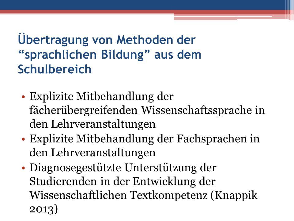 """Übertragung von Methoden der """"sprachlichen Bildung"""" aus dem Schulbereich Explizite Mitbehandlung der fächerübergreifenden Wissenschaftssprache in den"""