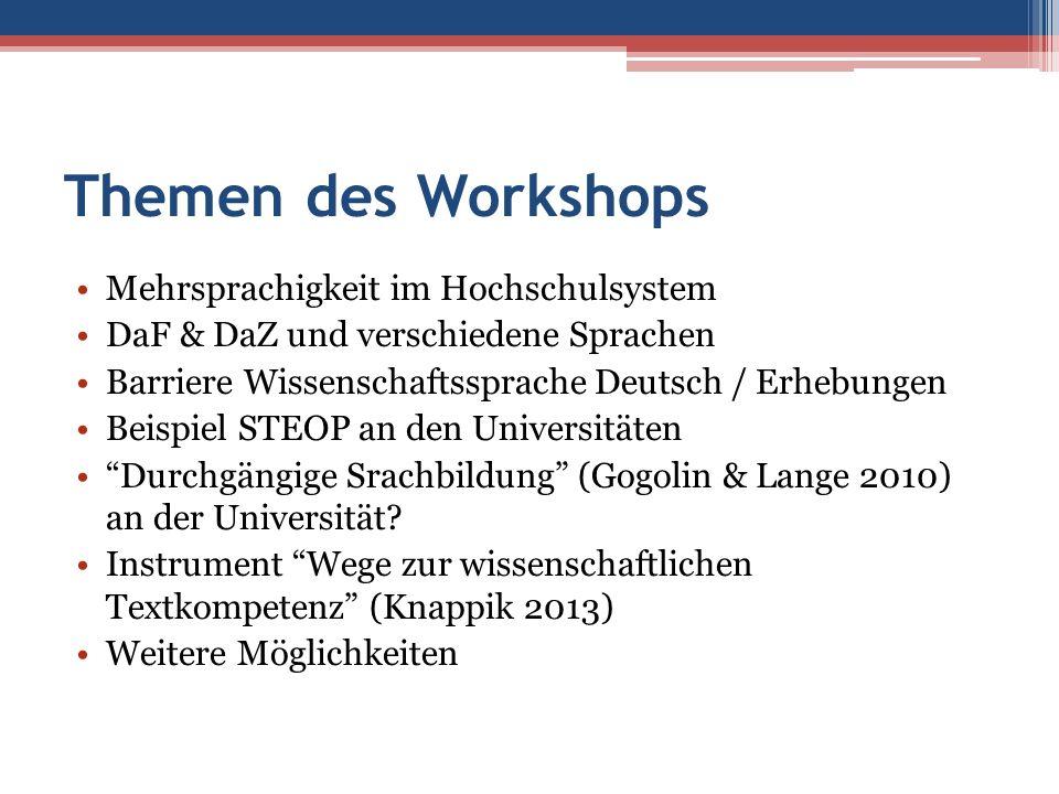 Themen des Workshops Mehrsprachigkeit im Hochschulsystem DaF & DaZ und verschiedene Sprachen Barriere Wissenschaftssprache Deutsch / Erhebungen Beispi