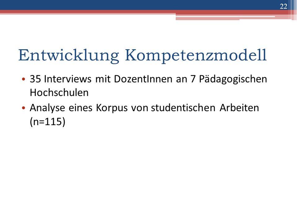 22 Entwicklung Kompetenzmodell 35 Interviews mit DozentInnen an 7 Pädagogischen Hochschulen Analyse eines Korpus von studentischen Arbeiten (n=115)