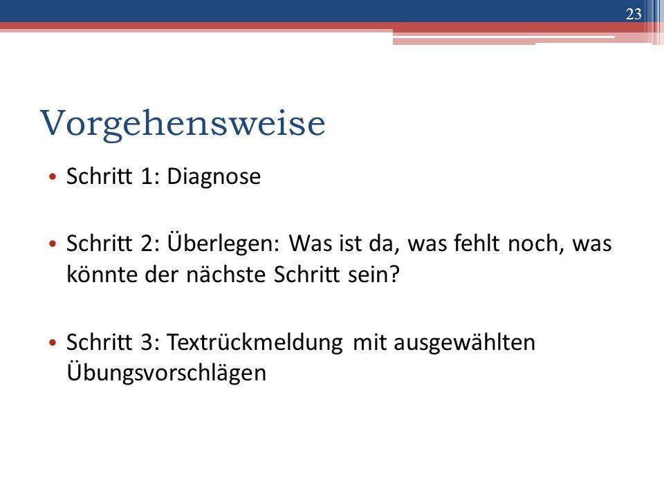 23 Vorgehensweise Schritt 1: Diagnose Schritt 2: Überlegen: Was ist da, was fehlt noch, was könnte der nächste Schritt sein? Schritt 3: Textrückmeldun