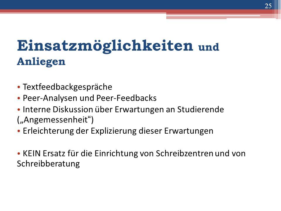 """25 Einsatzmöglichkeiten und Anliegen Textfeedbackgespräche Peer-Analysen und Peer-Feedbacks Interne Diskussion über Erwartungen an Studierende (""""Angem"""