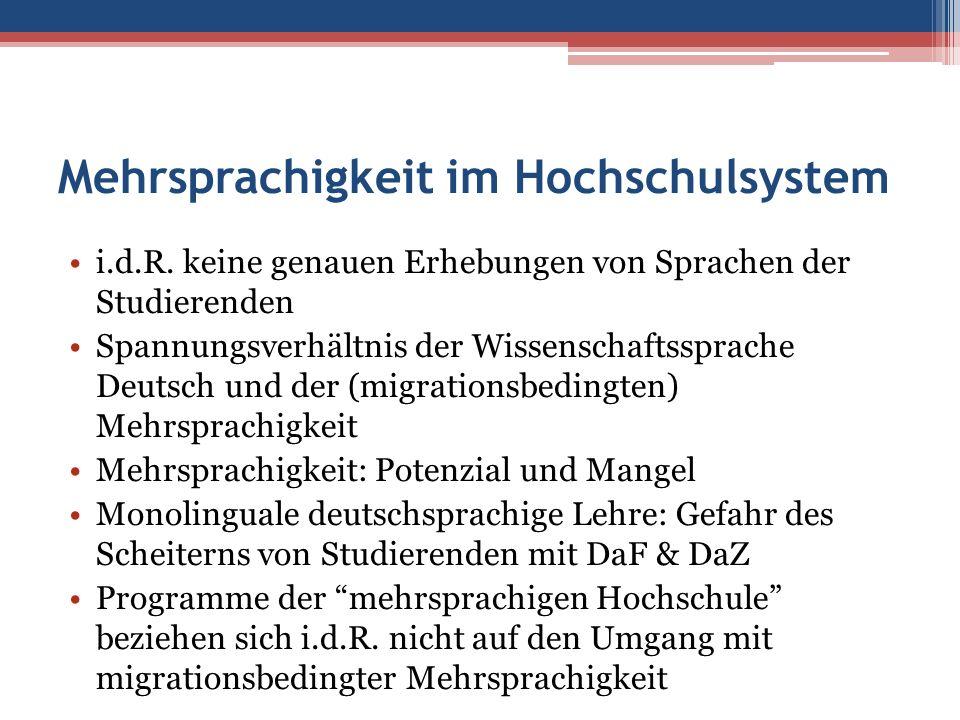 Mehrsprachigkeit im Hochschulsystem i.d.R. keine genauen Erhebungen von Sprachen der Studierenden Spannungsverhältnis der Wissenschaftssprache Deutsch