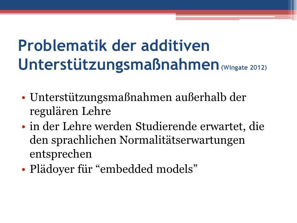 Problematik der additiven Unterstützungsmaßnahmen (Wingate 2012) Unterstützungsmaßnahmen außerhalb der regulären Lehre in der Lehre werden Studierende