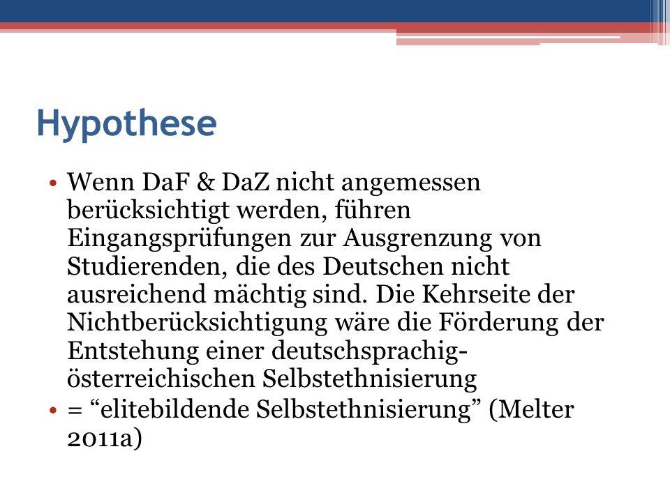 Hypothese Wenn DaF & DaZ nicht angemessen berücksichtigt werden, führen Eingangsprüfungen zur Ausgrenzung von Studierenden, die des Deutschen nicht au
