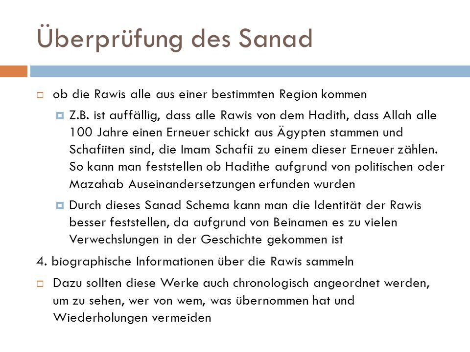 Überprüfung des Sanad  ob die Rawis alle aus einer bestimmten Region kommen  Z.B.