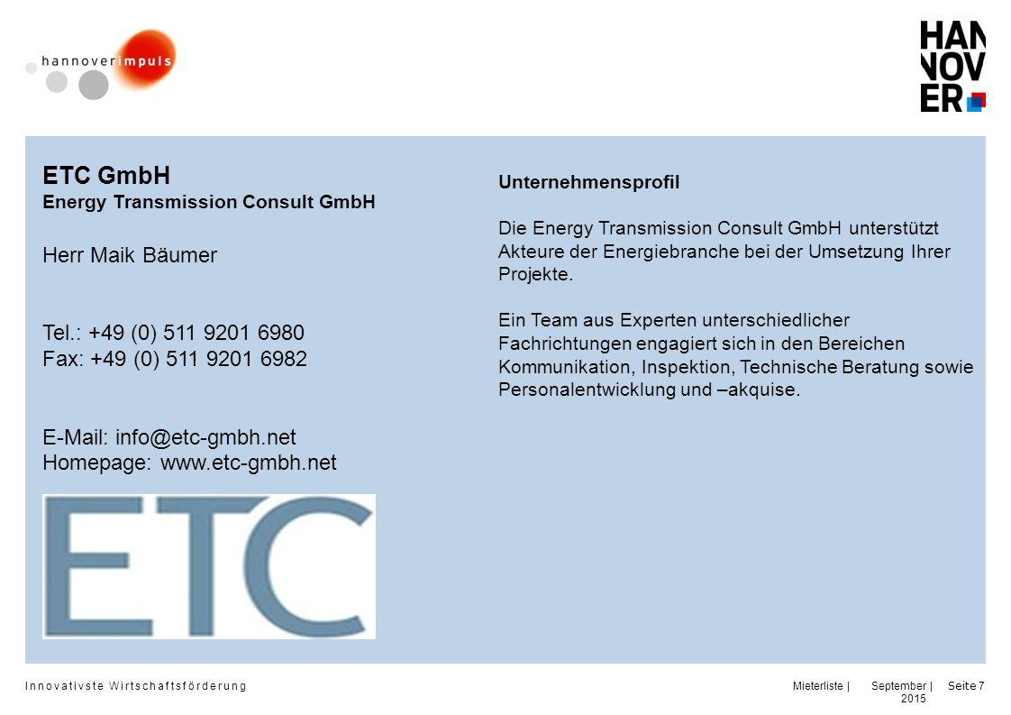 Innovativste Wirtschaftsförderung | | September 2015 Seite 8 GUBERNO Management GmbH Herr Jens Ebermann Herr Achim Jahns Tel.: +49 (0) 511 700 52 77 - 0 Fax: +49 (0) 511 700 52 77 - 11 Mobil: +49 (0) E-Mail: info@guberno-management.de Homepage: www.guberno- management.de Unternehmensprofil GUBERNO GmbH ist ein Unternehmen, welches Dienst- und Beratungsleistungen für Unternehmen, insbesondere im hochqualifizierten Management, Claim & Contract Management, Interim Management anbietet sowie die Vornahme aller sonstigen damit zusammenhängenden Geschäfte sowie Rechtsberatung.