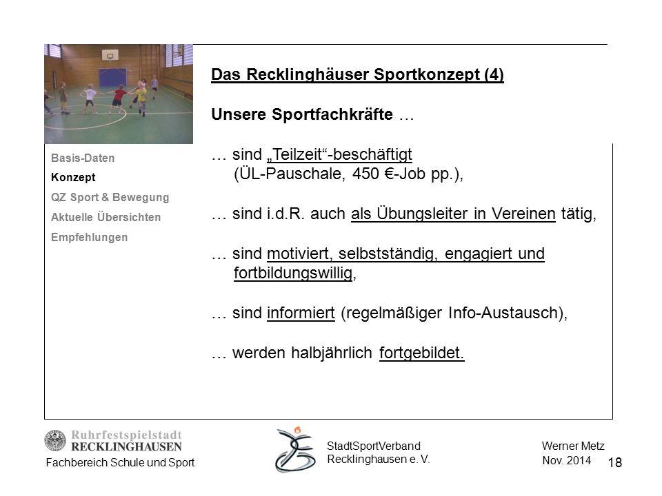 18 Werner Metz Nov. 2014 StadtSportVerband Recklinghausen e. V. Fachbereich Schule und Sport Das Recklinghäuser Sportkonzept (4) Unsere Sportfachkräft