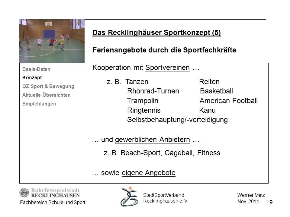 19 Werner Metz Nov. 2014 StadtSportVerband Recklinghausen e. V. Fachbereich Schule und Sport Das Recklinghäuser Sportkonzept (5) Ferienangebote durch