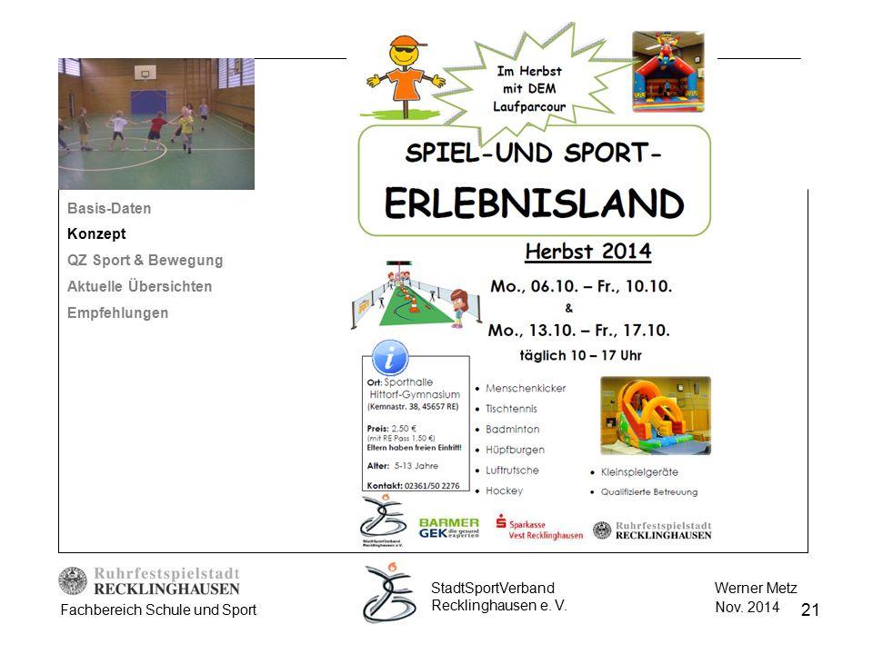 21 Werner Metz Nov. 2014 StadtSportVerband Recklinghausen e. V. Fachbereich Schule und Sport Basis-Daten Konzept QZ Sport & Bewegung Aktuelle Übersich