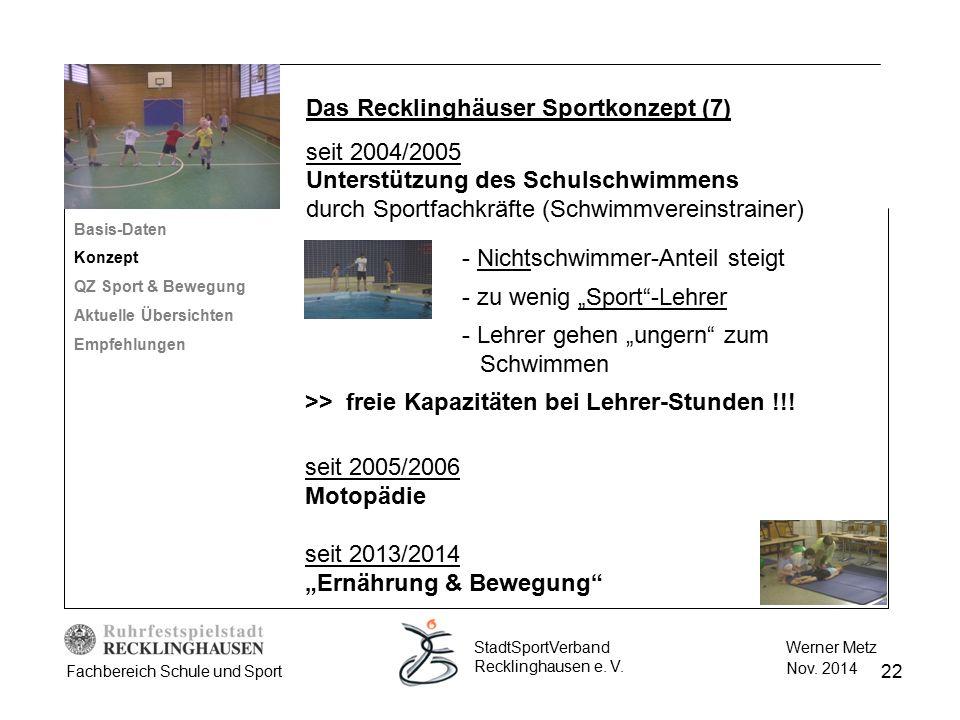 """22 Werner Metz Nov. 2014 StadtSportVerband Recklinghausen e. V. Fachbereich Schule und Sport seit 2005/2006 Motopädie seit 2013/2014 """"Ernährung & Bewe"""