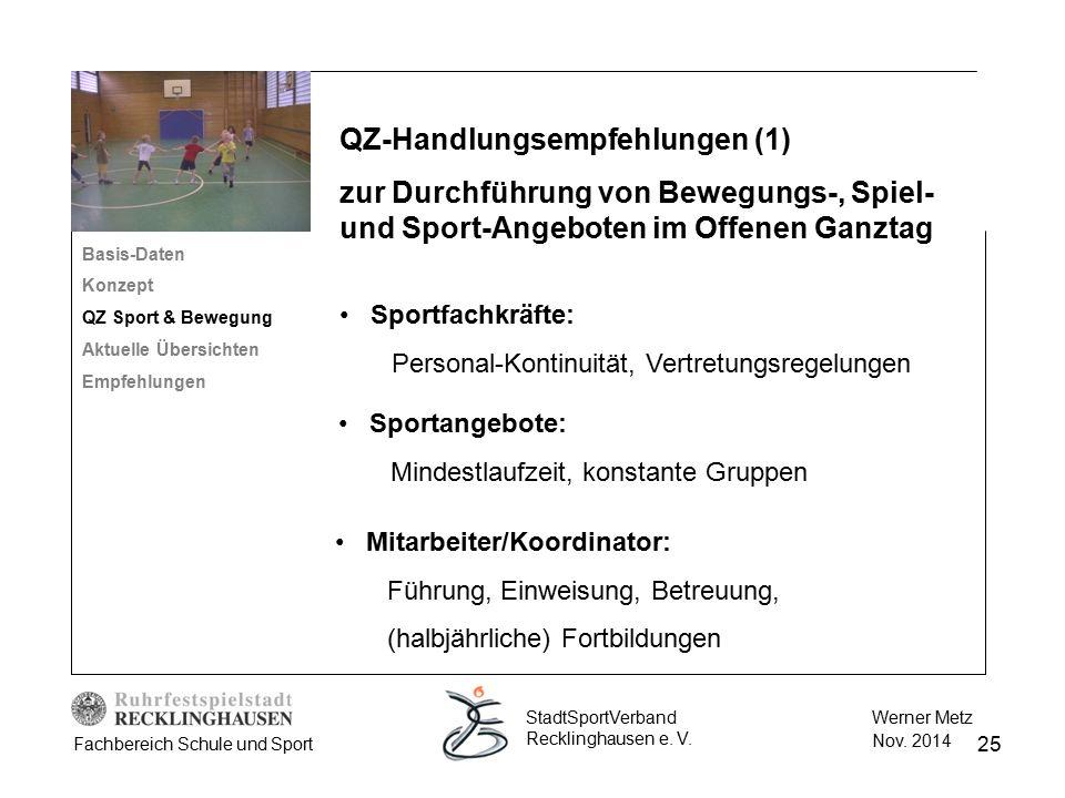 25 Werner Metz Nov. 2014 StadtSportVerband Recklinghausen e. V. Fachbereich Schule und Sport Basis-Daten Konzept QZ Sport & Bewegung Aktuelle Übersich
