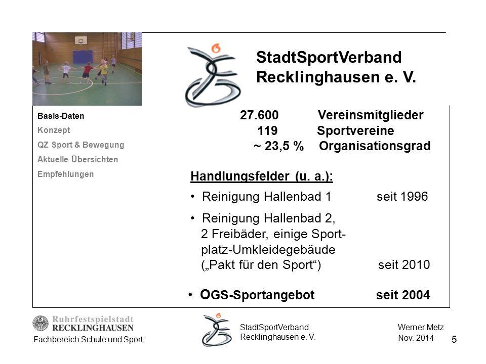 5 Werner Metz Nov. 2014 StadtSportVerband Recklinghausen e. V. Fachbereich Schule und Sport Handlungsfelder (u. a.): Reinigung Hallenbad 1 seit 1996 R