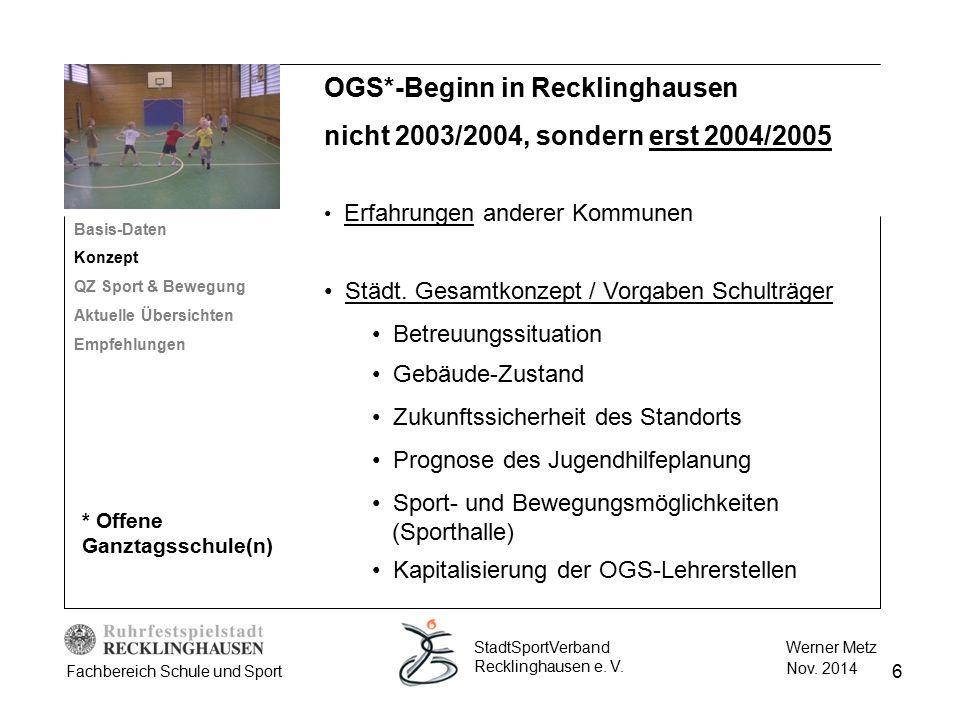 6 Werner Metz Nov. 2014 StadtSportVerband Recklinghausen e. V. Fachbereich Schule und Sport OGS*-Beginn in Recklinghausen nicht 2003/2004, sondern ers