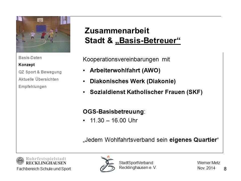 8 Werner Metz Nov. 2014 StadtSportVerband Recklinghausen e. V. Fachbereich Schule und Sport Kooperationsvereinbarungen mit Arbeiterwohlfahrt (AWO) Dia