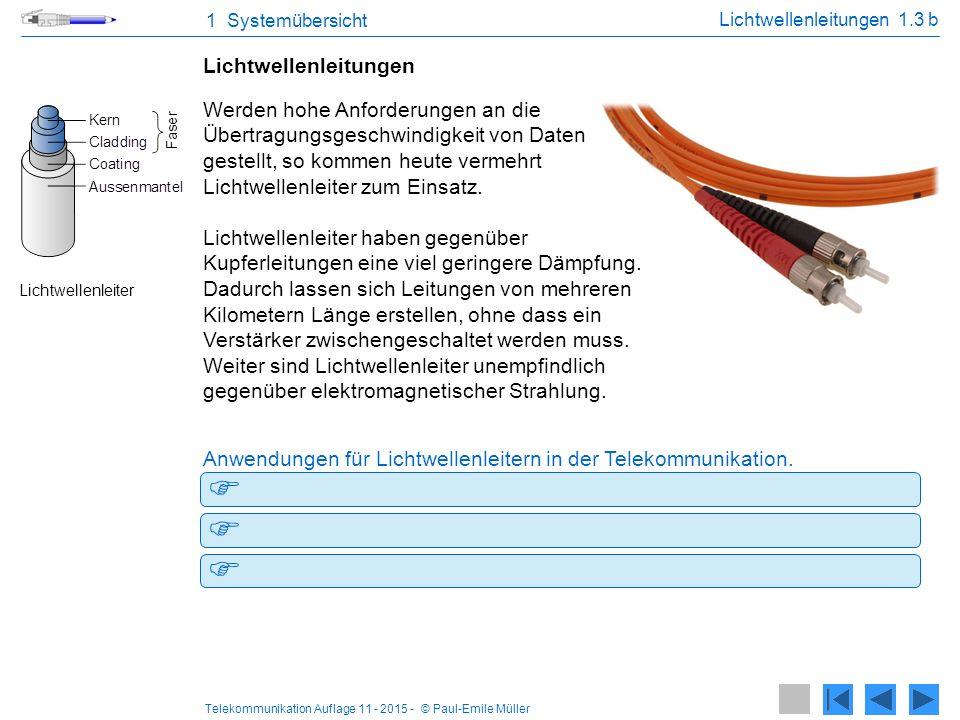 Telekommunikation Auflage 11 - 2015 - © Paul-Emile Müller -Anschlussleitungen von Carriern (z.B. Swisscom, Sunrise) -Computernetzwerke mit grossen Übe