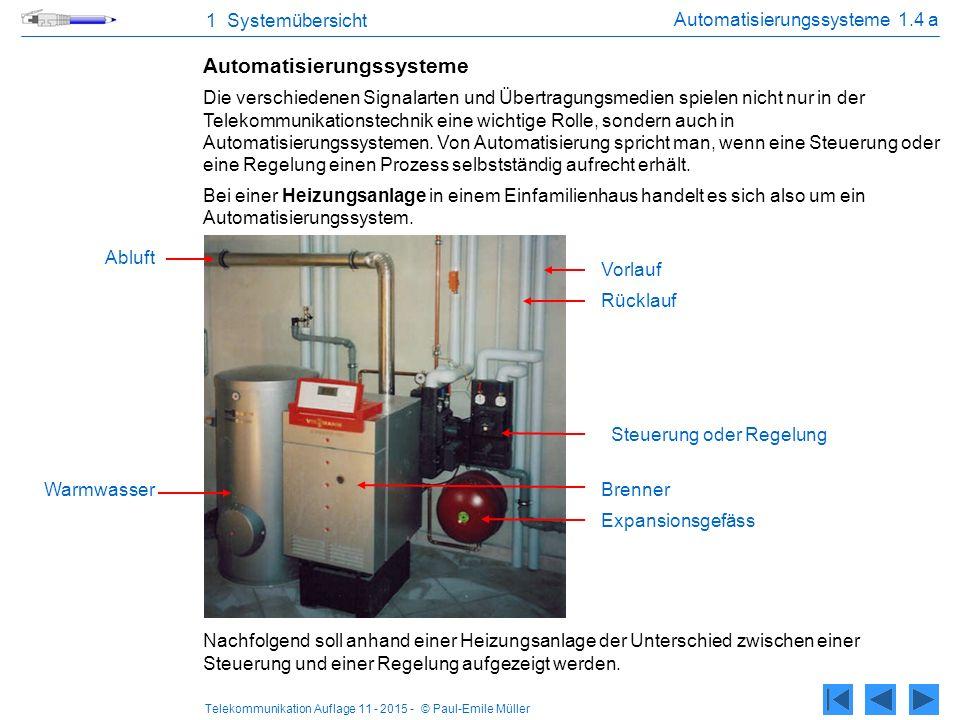 Telekommunikation Auflage 11 - 2015 - © Paul-Emile Müller 1 Systemübersicht Automatisierungssysteme 1.4 a Automatisierungssysteme Die verschiedenen Si