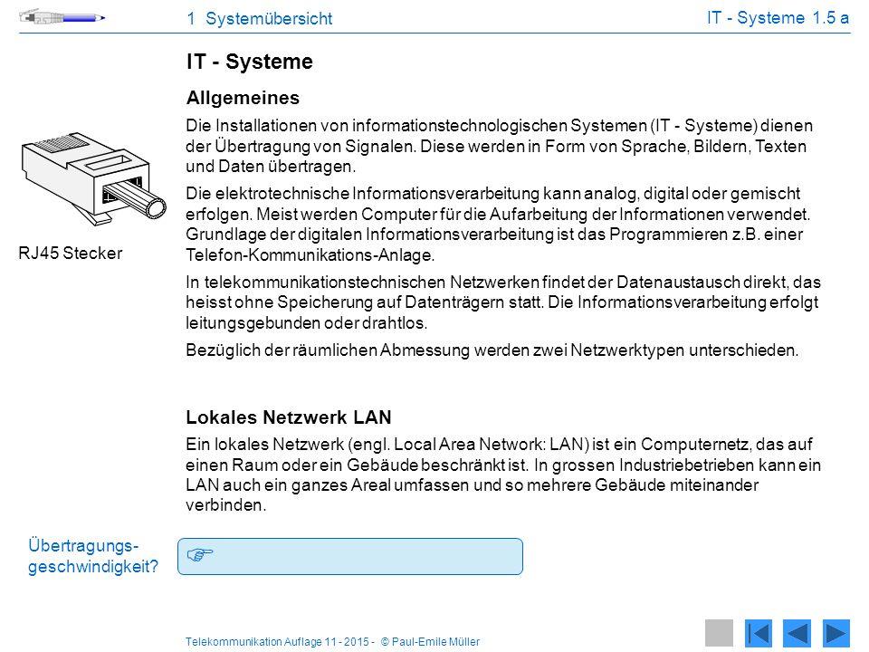 Telekommunikation Auflage 11 - 2015 - © Paul-Emile Müller 1 Systemübersicht Lokale Netzwerk LAN 1.5 b Firewall Router Switch Desktop Die Geräte sind zu verkabeln.