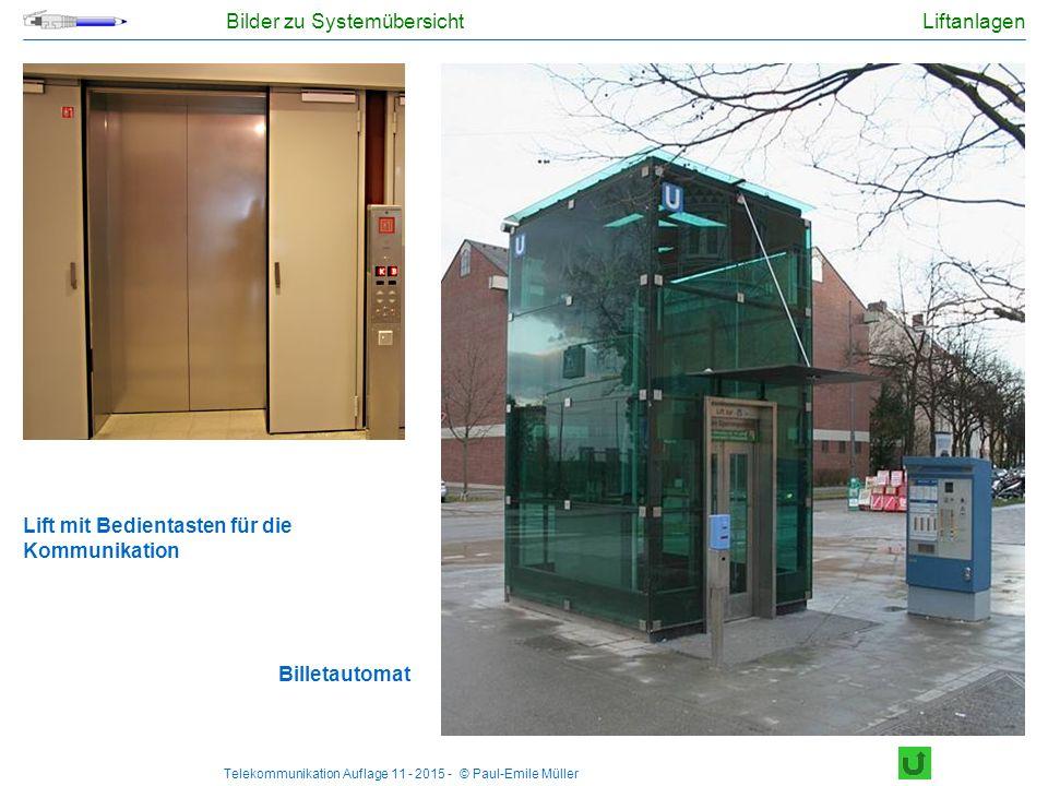 Telekommunikation Auflage 11 - 2015 - © Paul-Emile Müller Bilder zu Systemübersicht Liftanlagen Lift mit Bedientasten für die Kommunikation Billetauto