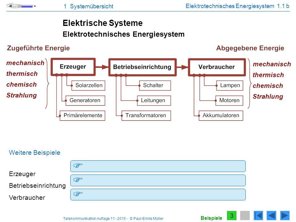 Telekommunikation Auflage 11 - 2015 - © Paul-Emile Müller 1 Systemübersicht Strahlung Elektrotechnisches Energiesystem 1.1 b 3 Elektrische Systeme The