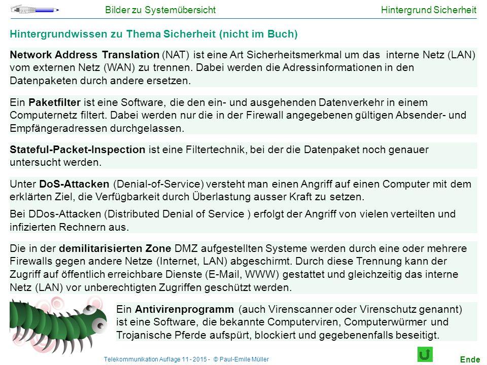 Telekommunikation Auflage 11 - 2015 - © Paul-Emile Müller Hintergrund Sicherheit Hintergrundwissen zu Thema Sicherheit (nicht im Buch) Network Address