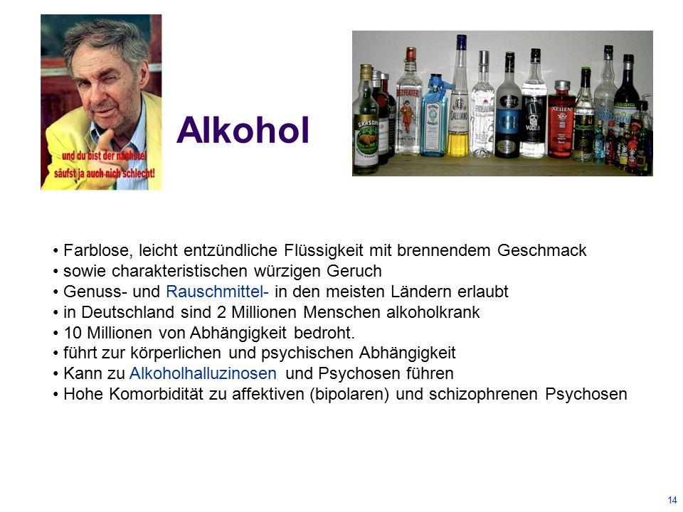 15 Opioide Sehr hohes Abhängigkeitspotential Starke analgetische Wirkung Diamorphin 1897 synthetisiert und von der Firma Bayer als Schmerz & Hustenmittel vertrieben in Deutschland bis 1958 verkauft, 1971 verboten ab Juli 2009 legalisiert als verkehrsfähige Droge