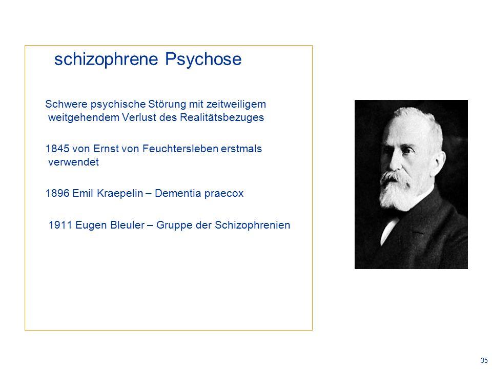 35 schizophrene Psychose Schwere psychische Störung mit zeitweiligem weitgehendem Verlust des Realitätsbezuges 1845 von Ernst von Feuchtersleben erstmals verwendet 1896 Emil Kraepelin – Dementia praecox 1911 Eugen Bleuler – Gruppe der Schizophrenien