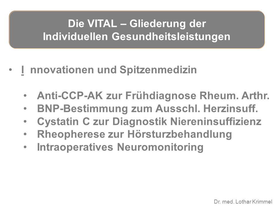 Dr. med. Lothar Krimmel I nnovationen und Spitzenmedizin Anti-CCP-AK zur Frühdiagnose Rheum. Arthr. BNP-Bestimmung zum Ausschl. Herzinsuff. Cystatin C