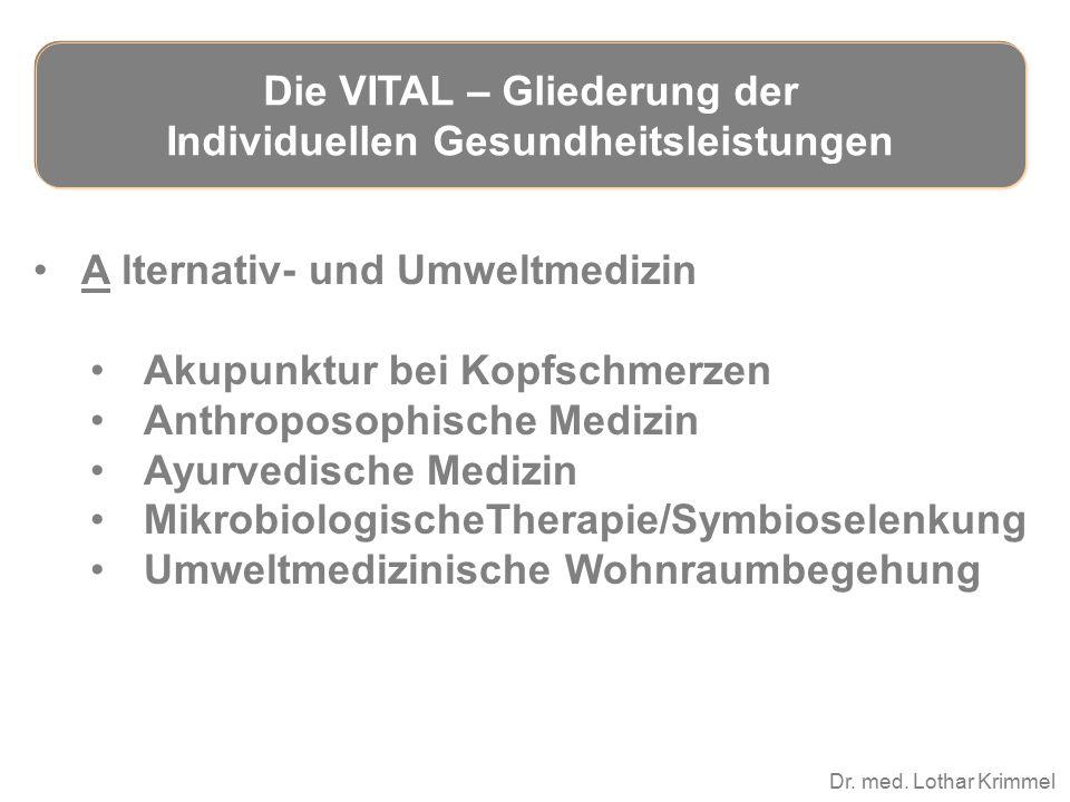 Dr. med. Lothar Krimmel A lternativ- und Umweltmedizin Akupunktur bei Kopfschmerzen Anthroposophische Medizin Ayurvedische Medizin MikrobiologischeThe