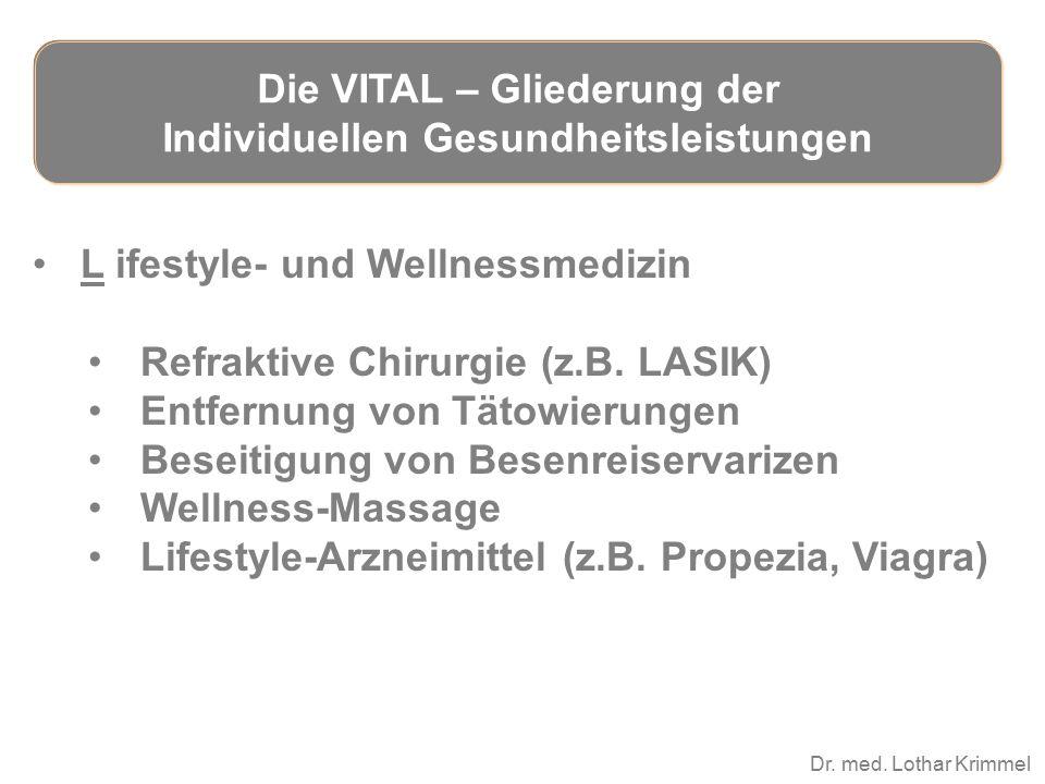 Dr. med. Lothar Krimmel L ifestyle- und Wellnessmedizin Refraktive Chirurgie (z.B. LASIK) Entfernung von Tätowierungen Beseitigung von Besenreiservari