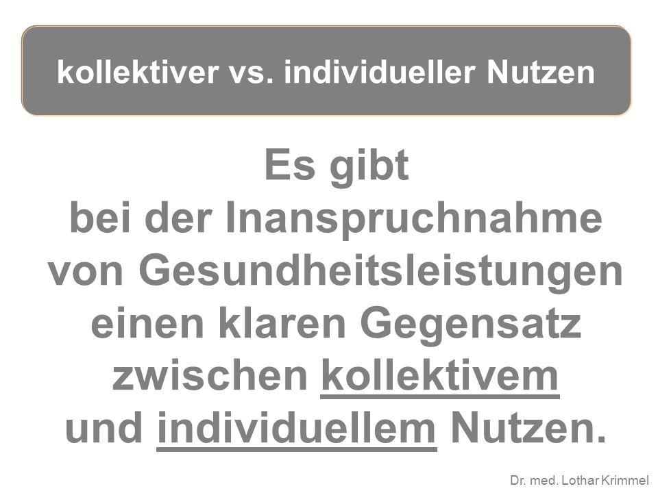 Dr. med. Lothar Krimmel Es gibt bei der Inanspruchnahme von Gesundheitsleistungen einen klaren Gegensatz zwischen kollektivem und individuellem Nutzen