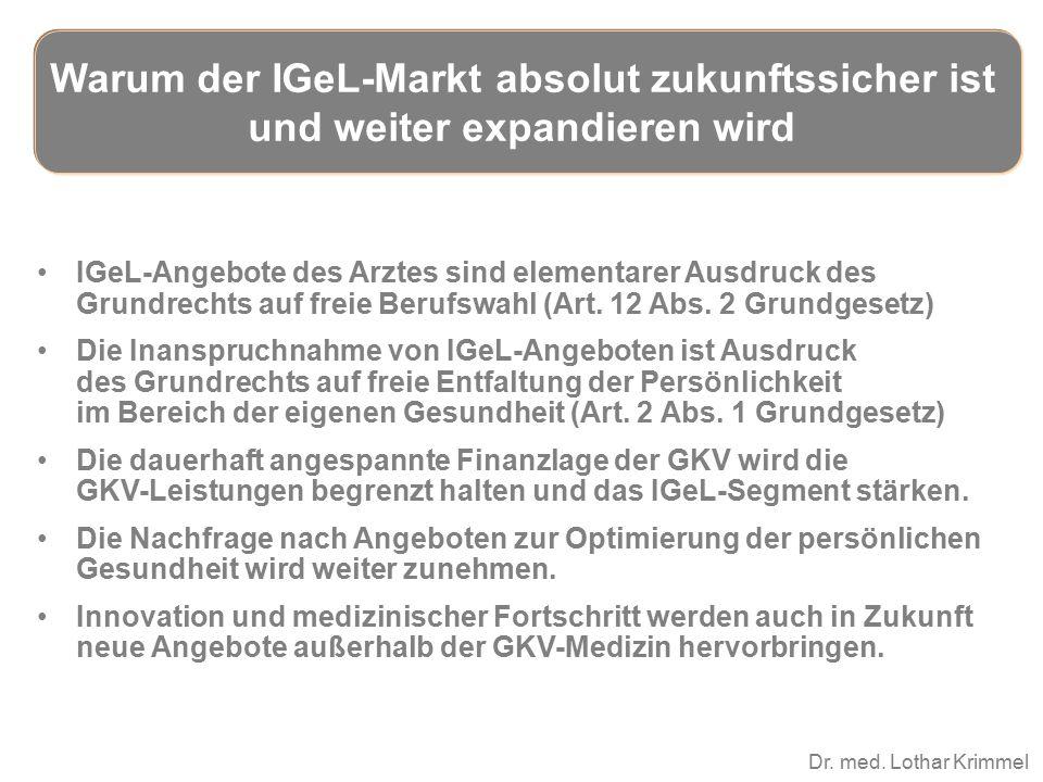 Dr. med. Lothar Krimmel IGeL-Angebote des Arztes sind elementarer Ausdruck des Grundrechts auf freie Berufswahl (Art. 12 Abs. 2 Grundgesetz) Die Inans