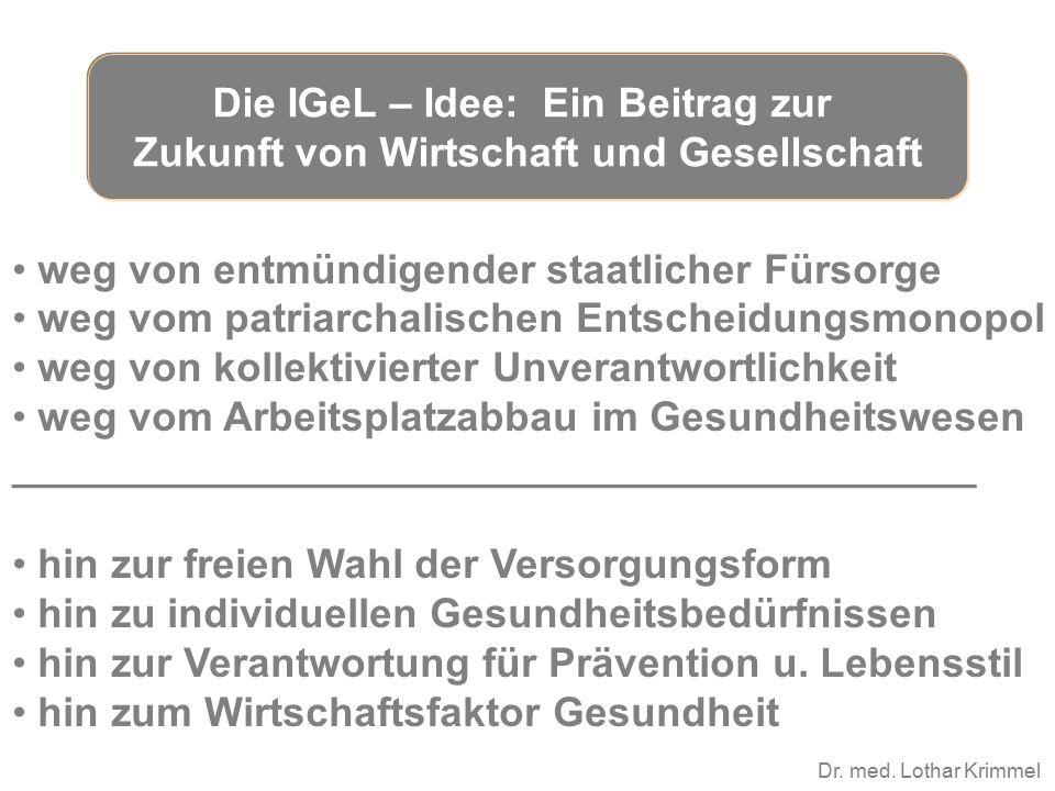 Dr. med. Lothar Krimmel weg von entmündigender staatlicher Fürsorge weg vom patriarchalischen Entscheidungsmonopol weg von kollektivierter Unverantwor