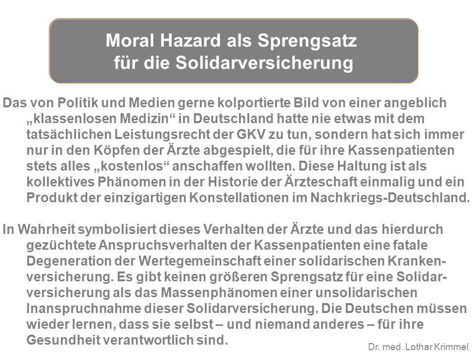 """Dr. med. Lothar Krimmel Das von Politik und Medien gerne kolportierte Bild von einer angeblich """"klassenlosen Medizin"""" in Deutschland hatte nie etwas m"""