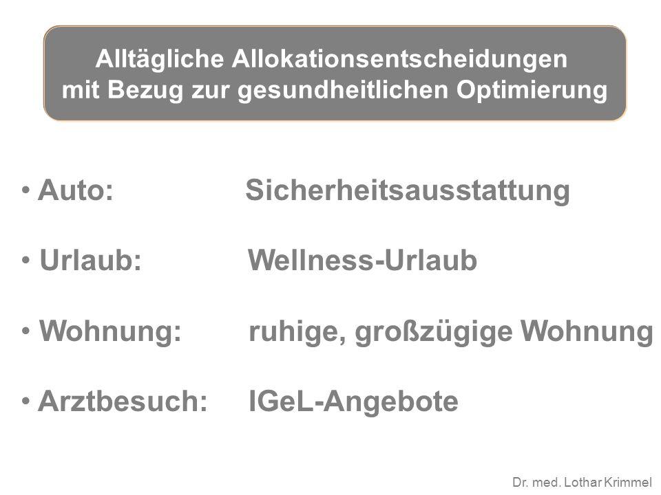 Dr. med. Lothar Krimmel Auto: Sicherheitsausstattung Urlaub: Wellness-Urlaub Wohnung: ruhige, großzügige Wohnung Arztbesuch: IGeL-Angebote Alltägliche