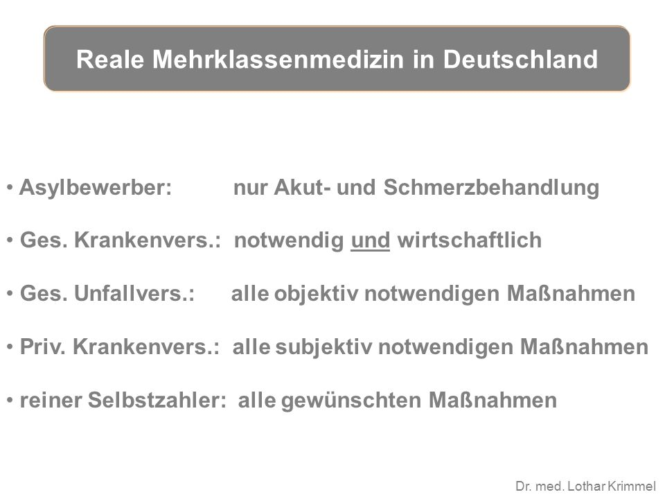 Dr. med. Lothar Krimmel Asylbewerber: nur Akut- und Schmerzbehandlung Ges. Krankenvers.: notwendig und wirtschaftlich Ges. Unfallvers.: alle objektiv
